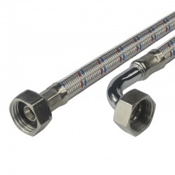 """Připojovací hadice 10x14, FxF, 3/4""""x3/4"""" s kolínkem, 500 cm, nerez opletení"""