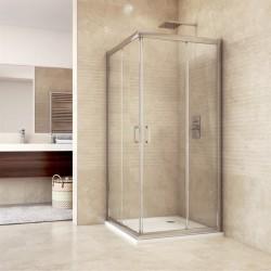 Sprchový kout, Mistica, čtverec, 90 cm, chrom ALU, sklo Čiré, dveře zasouvací