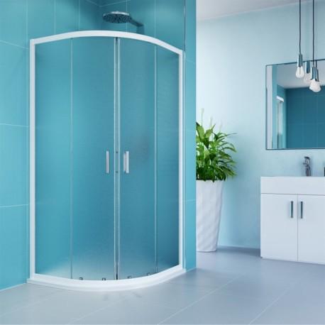 Sprchový kout, Kora, čtvrtkruh, 80 cm, R550, bílý ALU, sklo Grape