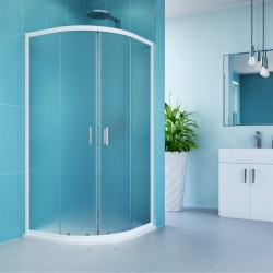 Sprchový kout, Kora, čtvrtkruh, 90 cm, R550, bílý ALU, sklo Grape
