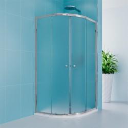 Sprchový set z Kory Lite, čtvrtkruh, 90 cm, chrom ALU, sklo Grape a odtokového žlabu.