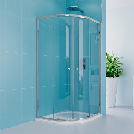 Sprchový set z Kory Lite, čtvrtkruh, 90 cm, chrom ALU, sklo Čiré a nízké SMC vaničky
