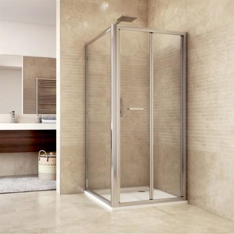 Sprchový kout, Mistica, čtverec, 90 cm, chrom ALU, sklo Čiré, dveře zalamovací
