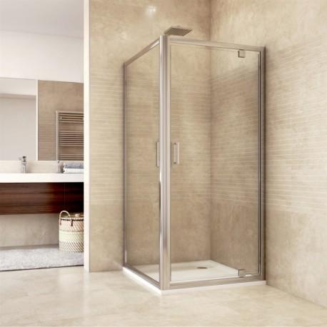 Sprchový kout, Mistica, čtverec, 80 cm, chrom ALU, sklo Čiré, dveře pivotové