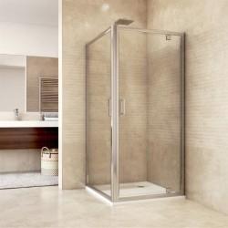 Sprchový kout, Mistica, čtverec, 90 cm, chrom ALU, sklo Čiré, dveře pivotové