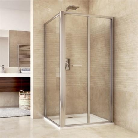 Sprchový kout, Mistica, obdélník, 90x80x190 cm, chrom ALU, sklo Čiré