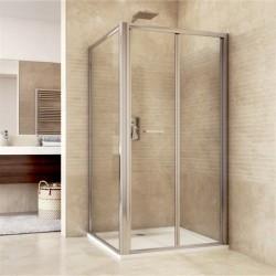 Sprchový kout, Mistica, obdélník, 80x90x190 cm, chrom ALU, sklo Čiré