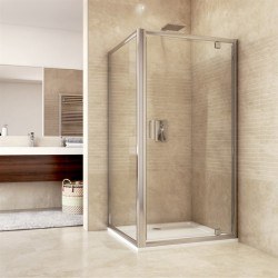 Sprchový kout, Mistica, obdélník, 90x80 cm, chrom ALU, sklo Čiré