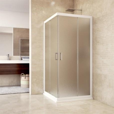 Sprchový kout, Mistica, čtverec, 90 cm, bílý ALU, sklo Grape