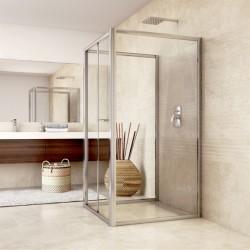 Sprchový kout, Mistica, obdélník, 90x80x90x190 cm, chrom ALU, sklo Čiré
