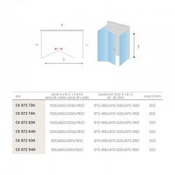 Sprchové dveře zalamovací, Mistica, 80x190 cm, chrom ALU, sklo Chinchilla