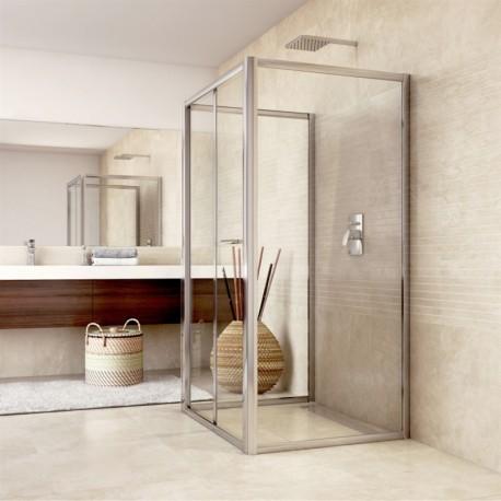 Sprchový kout, Mistica, obdélník, 80x90x80x190 cm, chrom ALU, sklo Chinchilla