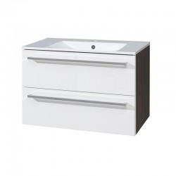 Koupelnová skříňka s keramickým umyvadlem 80 cm, bílá/schoko