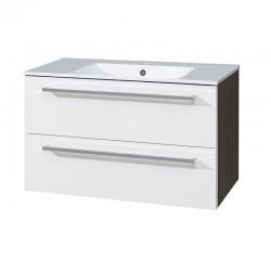 Koupelnová skříňka s keramickým umyvadlem 100 cm, bílá/schoko