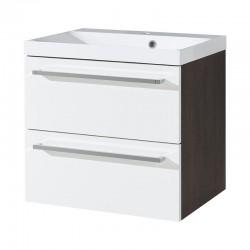Koupelnová skříňka s umyvadelem z litého mramoru 60 cm, bílá/schoko