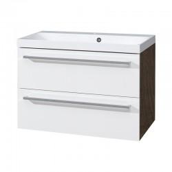 Koupelnová skříňka, umyvadlo litý mramor, 80 cm, bílá/schoko