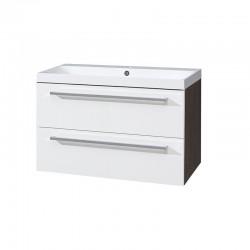 Koupelnová skříňka, umyvadlo litý mramor, 100 cm,  bílá/schoko