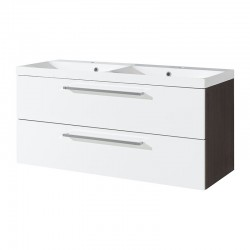 Koupelnová skříňka s dvoumyvadlem z litého mramoru, 120 cm,  bílá/schoko