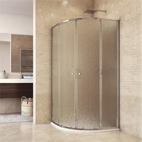 Sprchový set: kout čtvrtkruh, 90x90x185 cm, R550, chrom ALU, sklo Chinchilla, odtokový žlab