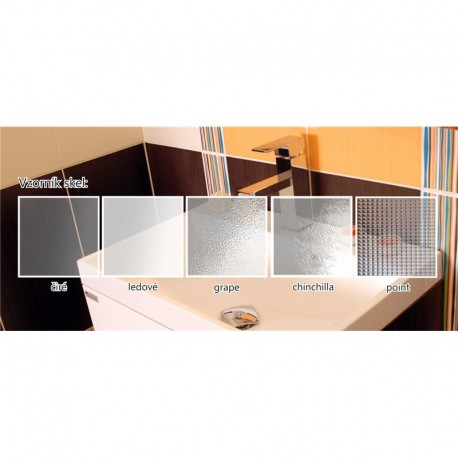 Sprchový box, čtvrtkruh, 90 cm, R550, profily satin, sklo Point, SMC vanička, se stříškou