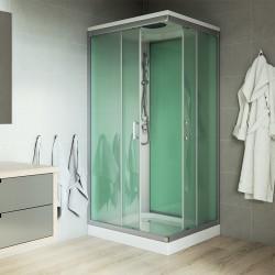Sprchový box, čtvercový, 90 cm, profily satin, sklo Point, litá vanička, bez stříšky