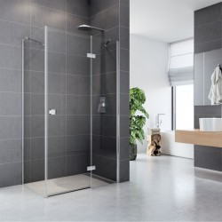 Sprchový kout, Fantasy, obdélník, 90x80 cm, chrom ALU, sklo Čiré, dveře a pevný díl
