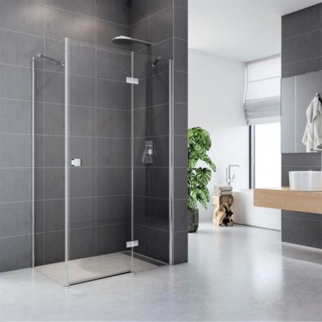 Sprchový kout, Fantasy, obdélník, 80x90 cm, chrom ALU, sklo Čiré, dveře a pevný díl