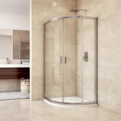 Sprchový kout, Mistica, čtvrtkruh, 80 cm, R550, chrom ALU, sklo Čiré