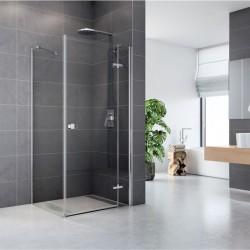 Sprchový kout, Fantasy, čtverec, 80 cm, chrom ALU, sklo Čiré, dveře a pevný díl