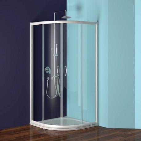 Sprchový kout, Mistica, čtvrtkruh, 80 cm, R550, bílý ALU, sklo Čiré
