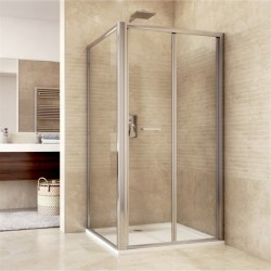 Sprchový kout, Mistica, obdélník, 80x100x190 cm, chrom ALU, sklo Čiré