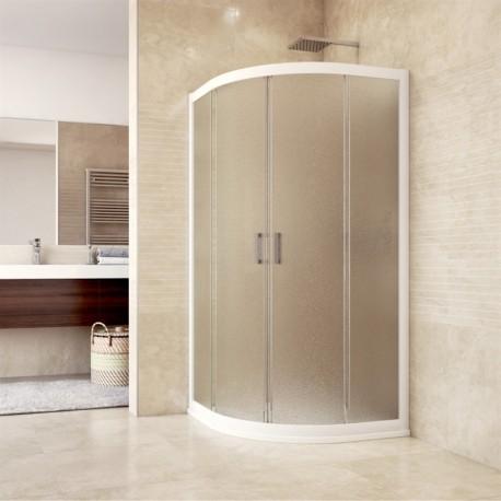 Sprchový kout, Mistica, čtvrtkruh, 90 cm, R550, bílý ALU, sklo Grape